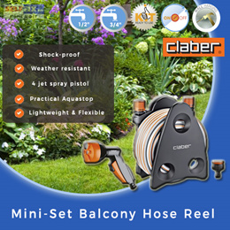 【Claber】Mini-Set Balcony Hose Reel