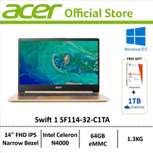 Acer Swift 1 SF114-32-C1TA 14 Laptop - Preloaded Microsoft Office 365 personal