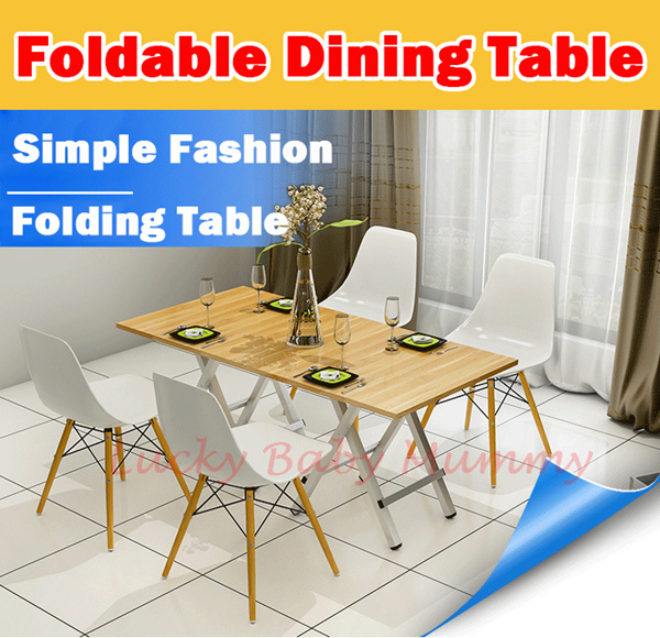 ?Foldable Dinner Table?Wooden Folding Dining Table/Computer/Rack/Portable/Space Saver Deals for only S$399 instead of S$0