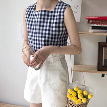 [binary01] [Linen Item] Check Hooni Square Blouse(체크 후니 스퀘어블라우스)