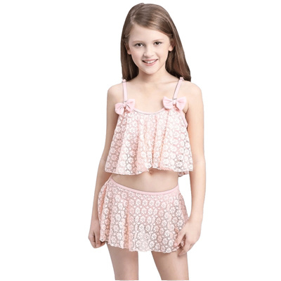 d00471d1f747d 2018 Child Skirted Swimsuit Swimwear Girl Halter Two Piece Swim Bathing Suit  Bather Pool Tanga Teen