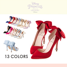 Gracegift-Disney Princess Snow White Big Bow Heels/Women/Ladies/Girls Shoes/Taiwan Fashion