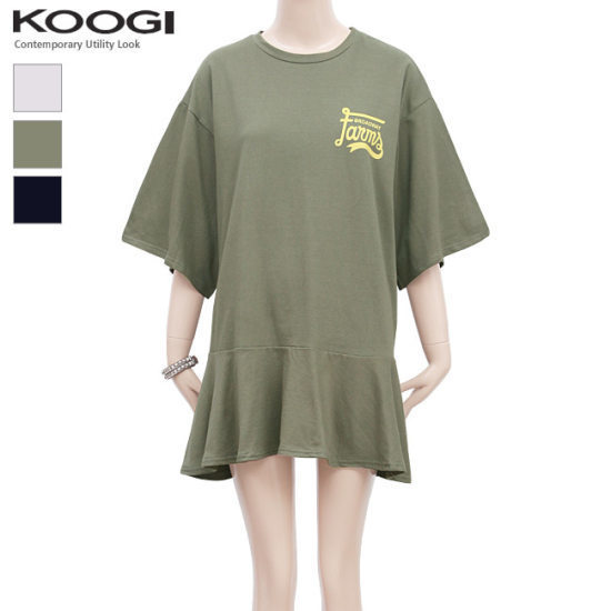 釘宮ブロードバンドプリントフリルのワンピースKK3OP316A 綿ワンピース/ 韓国ファッション