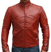 Men Leather Jacket、 Superman Movie Classic Superman Man of Steel Smallville Red Style Leather Biker Jacket、 Me