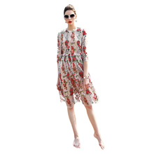 Elegant Round Collar 3/4 Sleeve Mesh Floral Embroidery Dress for Women
