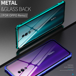 OPPO Reno cover Metal frame Tempered glass Phone Case casing