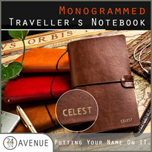 Monogrammed ♥ Traveller Planner ♥ Personalized Vintage Leather Planner ♥ Refillable