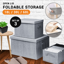 [Bundle of 3]Foldable Fabric Storage Wardrobe Organizer  | up to 60litres |