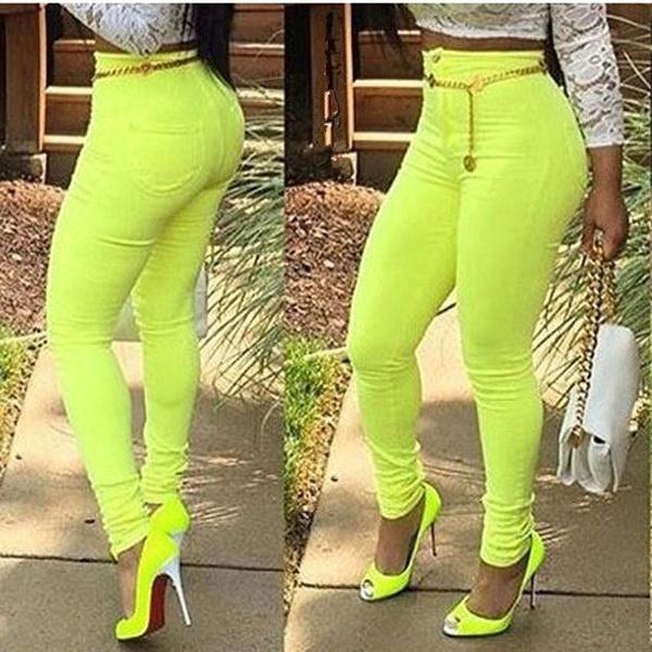春夏レディースファッションパンツセクシーカジュアル弾性ウエストコットンジーンズプラスサイズ