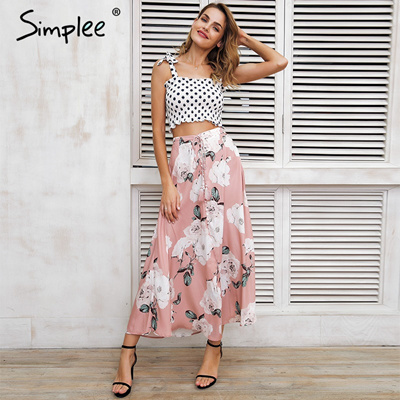 10271b9e02c wholesale Simplee Tassel floral print long skirt women Button tie up beach maxi  skirt 2018 Casual