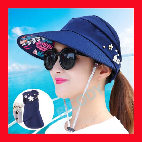 SUN HAT FOLDABLE Sunhat Cap Woman Korean Golf Lady Rollable Anti UV Sunlight SPF Visor Deals for only S$20 instead of S$0