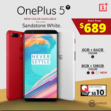 [READY STOCK] One Plus 5T | 64GB | 128GB | Black | Lava Red | Sandstone White*