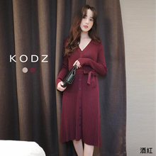 KODZ - V-Neck Rib Breasted Ribbon-Tie Dress-191250