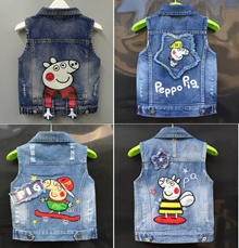 Peppa Pig Mickey Minions  jean vest jacket for baby toddler 70cm to 135cm