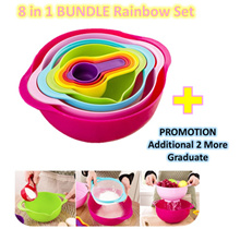 ♥ BPA FREE Kitchen Rainbow Set ♥ Mixing Bowl/ Filter/ Sieve/ Graduate/ Measuring Cups Set ♥ Baking
