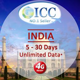 ◆ ICC◆【India Sim Card· 5/8/10/30 Days】❤2.5GB/5GB/15GB 4G LTE/3G + Unlimited data ❤ Plug and Use