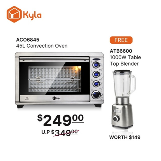 [S$249.00](▼38%)[Kyla][MAY SPECIAL!] Aztech 45L Convection Oven ACO6845 | Free Blender Worth $149! | 1 Year Warranty!