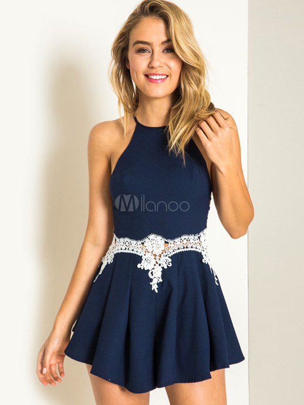 Charming Deep Blue Lace Spandex Woman s Romper Deals for only S$99.4 instead of S$0