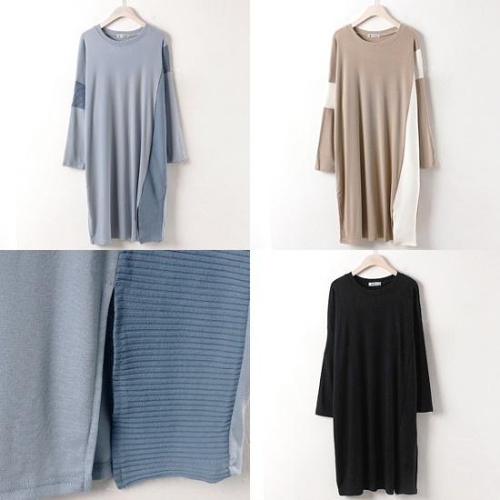 ウィスィモールIWの横ラインゴルジワンピースNB1708 綿ワンピース/ 韓国ファッション