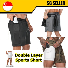[Special offer] Double Layer Running Sport Shorts Men Gym Fitness Quick Dry Built-in pocket |