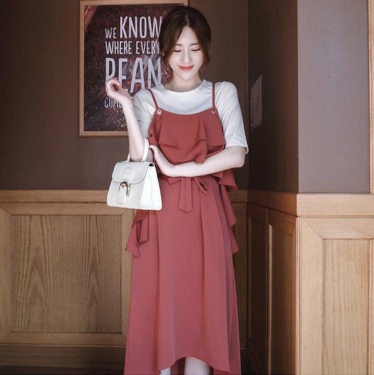 [55555SHOP]レディース ワンピース 新作 大きいサイズ 砂浜 OL シフォン OL ドレス
