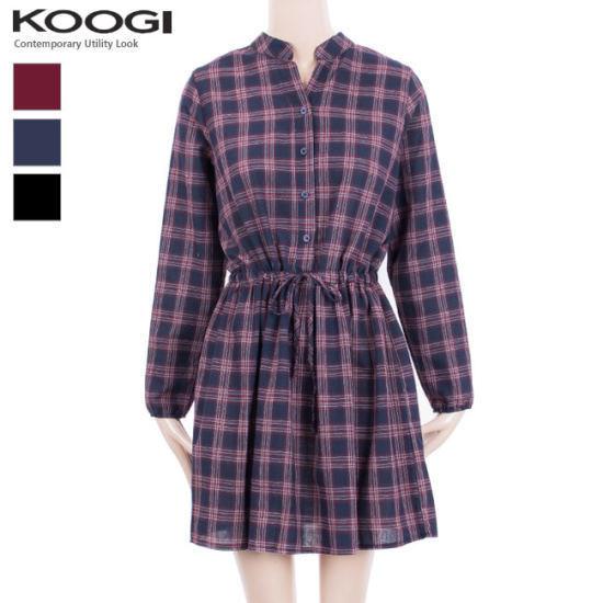 釘宮チャイナチェックストリングワンピースKK3OP330A 綿ワンピース/ 韓国ファッション