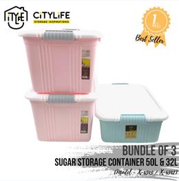 [BUNDLE OF 3] - Citylife Sugar Storage Container (2x50L + 32L)  *Pastel Colors