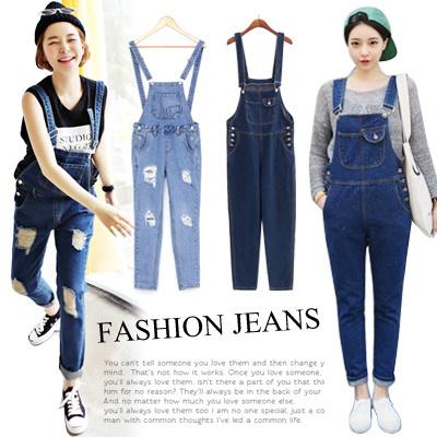 c44481d39918 Korean Style Women Denim Jeans Ripped Jeans  Suspender Pants Overalls