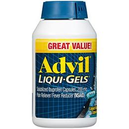 Advil Liqui-Gels (200 Count) Pain Reliever/Fever Reducer Liquid Filled Capsule, 200mg Ibuprofen, Tem