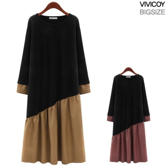 ビビ己斐死線配色ワンピースANG 綿ワンピース/ 韓国ファッション