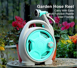 Water Hose Reel Mini Water Pipe Car Automatic Garden Hose Reel Retractable  Spray Nozzle with 15m
