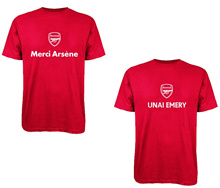 Arsenal Merci Arsene Unai Emery men soccer fan tshirts