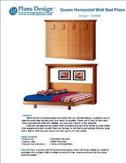 Plans Design Easy Murphy Horizontal Queen Size Wall Bed Frame Woodworking Plans, 1QHWB