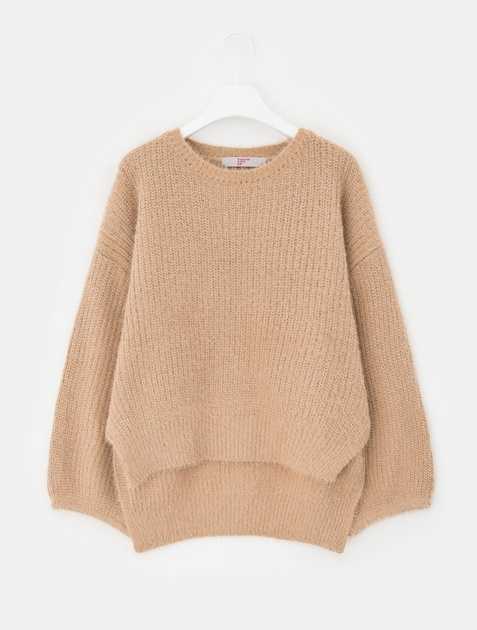 8SECONDS Fake Angora Balloon Sleeve Pullover - Beige