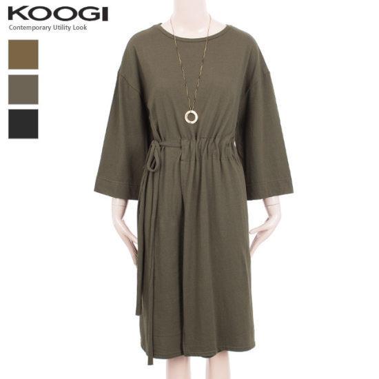 釘宮の横リボンシャーリングワンピースKK3OP332A 綿ワンピース/ 韓国ファッション