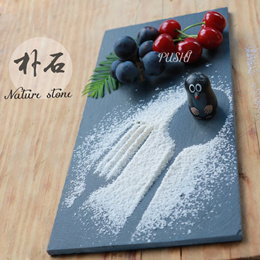 European chefs special feature slate plate creative Cake Pan Western steak Pan slate placemat a ston