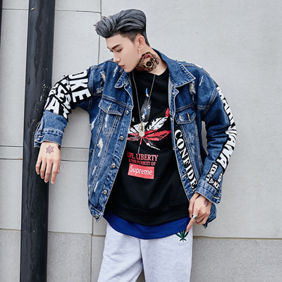 d91b63cecdd Harajuku wind hip-hop denim jacket men loose hole Hong Kong Wind tide brand  BF