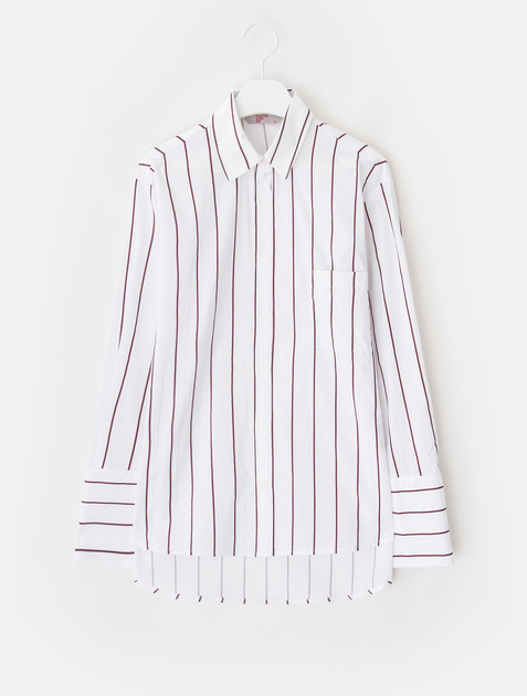 8SECONDS [CELEBsPICK] Pin Stripe Cotton Shirt - Wine
