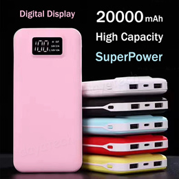 SuperPower Portable Powerbank Charger Battery Power Bank High Capacity 20000mAh with Digital Display