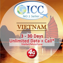 ◆ ICC◆【Vietnam Prepaid SIM Card·15/30 Days 】Viettel/Mobifone 8GB/10GB 4G+Unlimited data+Call/SMS