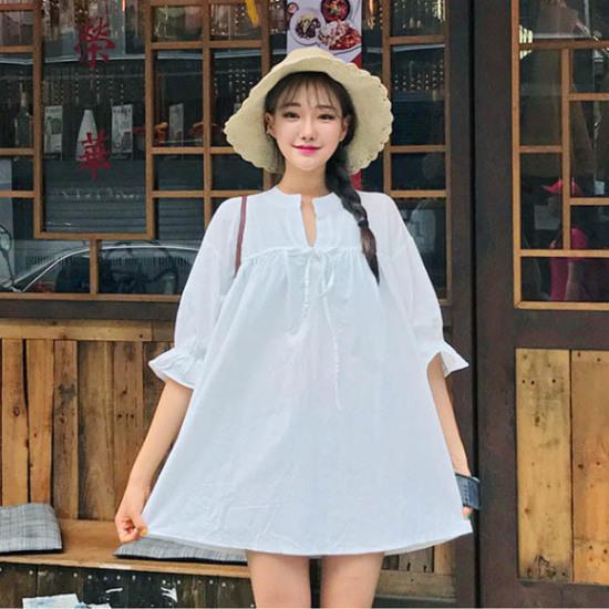 あっかんべーショップリボン開けたことOPS 綿ワンピース/ 韓国ファッション