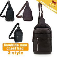 ◆Cowhide Sling Bags for Men◆ Chest Bag/ Hip sack/  Dialy^Travel Bag-2 types