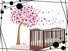 The Red Plum Blossom Tree Removable Wall Stickers Children Bedroom Background Decoration Funny Stick