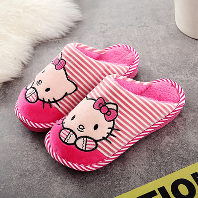 25a4f1a967e Winter kids slippers boys girls slippers Hello pink blue KITTY children  warm soft shoes kid cute