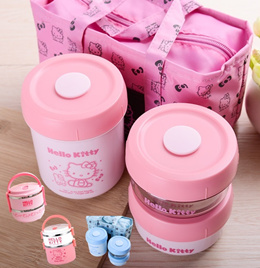 💖 Hello Kitty Kitchen 304 Stainless Steel Thermal Lunch Box/ Bowl Kids Cup Chopstick Spoon Set 💖