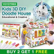 3D DIY Doodle House Painting Puzzle Toy Kids Drawing Cardboard Wearable Animals Coloring Pad Gift