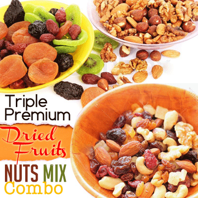 Triple Premium Dried Fruits Nuts Mix Combo Deals for only Rp135.000 instead of Rp135.000