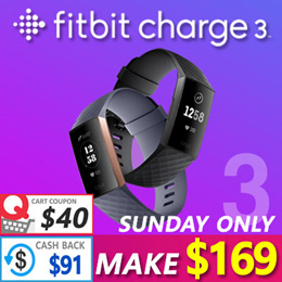 🔥 Only This Sunday - Make $169!! 🔥Fitbit Charge 3 Fitness Activity Tracker