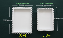 European tray, rectangular western dish, snowflake, iron cake tray, dessert display, square tray, la