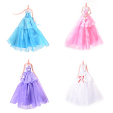Handmade Dress Wedding Party Gown Fashion Clothes For Barbie Doll Candy colorToy
